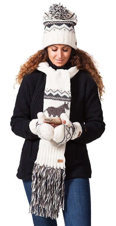 Female model wearing dark gray sweater-knit wool scarf white with gray horse & gray zig zag design