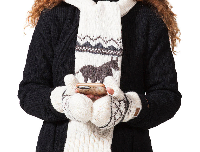 Female model wearing dark gray sweater-knit wool scarf white with gray horse & gray zig zag design