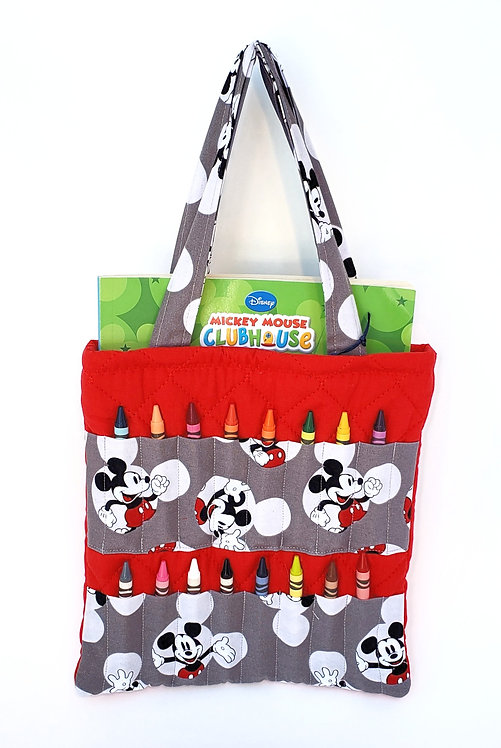 2-handle Crayon Bag-red-2  stitched gray Mickey Mouse print fabric panels hold 8 crayons each on front-coloring book inside