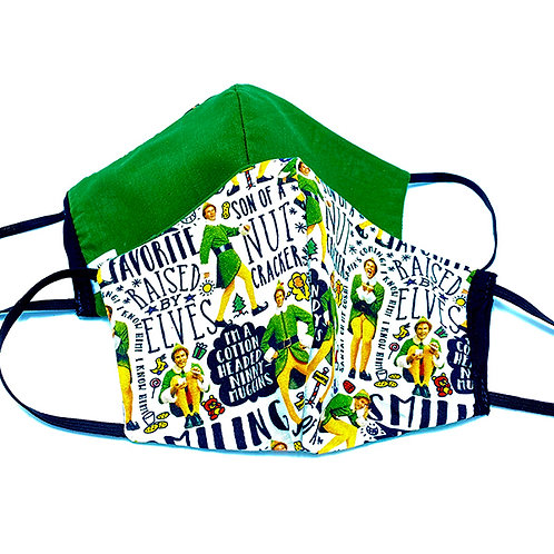 2 cotton face masks - black, white yellow & green 'Elf' movie print & solid green