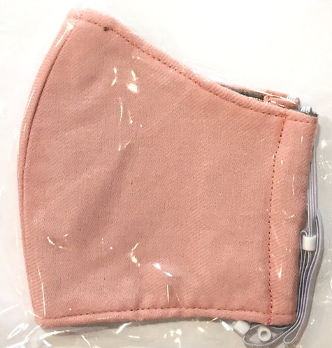 close up of peach colored kids cotton protective mask