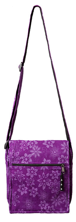 Full view of Ark Fair Trade Lotsa Flowerz Purse with long adjustable shoulder strap in purple with lilac flowers