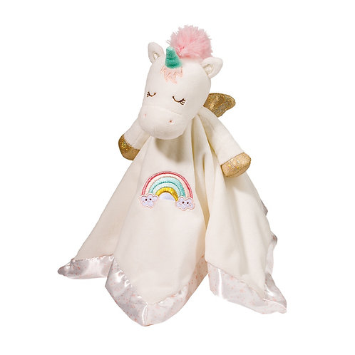 Pink & white soft square satin-bound blanket with stuffed head, legs & wings sewn in center to form unicorn doll, hanging