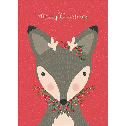 Red card with cute deer face decorated with holly berries