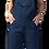Female modelling navy overalls-bib-pocket-2 side inset pockets
