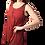 Woman modelling sleeveless round neck tunic-longer pointed side hem-burgundy with subtle black tie-dye print