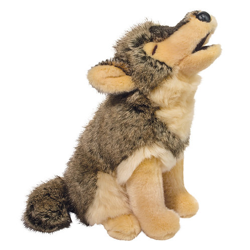 Brown and beige plush stuffed wolf toy with head back howling and eyes closed