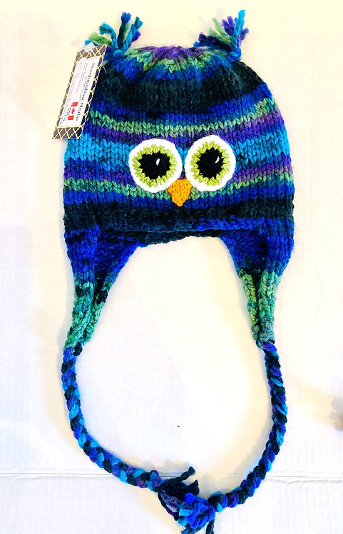 Blue & green knit child's hat with earflaps & chin ties - owl eyes & beak stitched on - ear tassels at top of crown