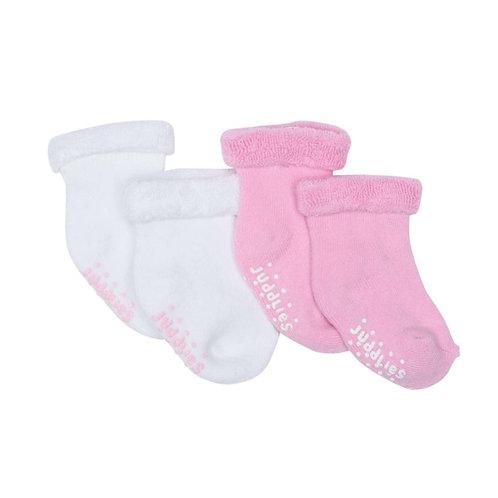 2 pairs of fleecy infant socks-1 white-1 pink