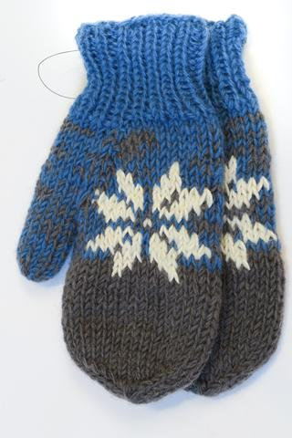 Blue & gray knit wool mitts with white snowflake pattern on back