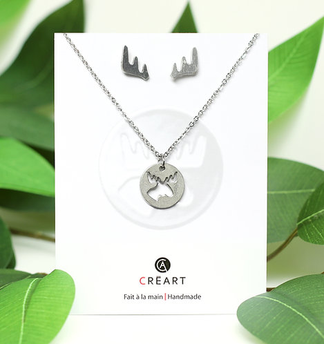Green & white card displaying pewter pendant, chain & earring set-pendant is round with moose head cut out, antler earrings