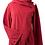 Model wearing light burgundy fleece jacket-long bell sleeve-hood-wrap over front with large button closer on one shoulder