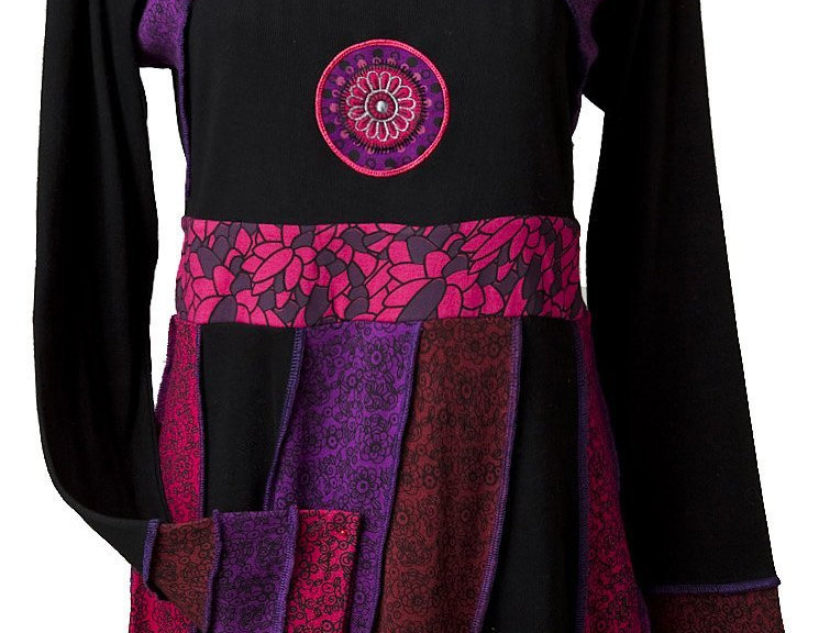 Purple/black round neck long sleeve fitted dress-skirt multiple narrow panels of different colored prints sewn on diagonal