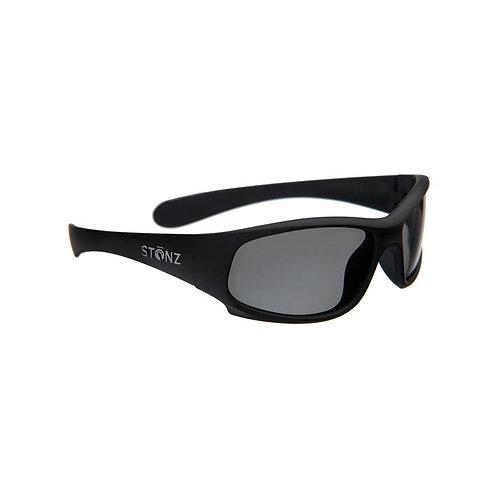 Side view of matte black kid's sunglasses