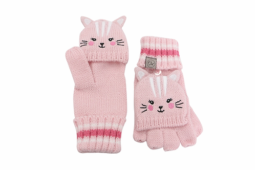 Pink knit fingerless gloves with mitten flap over fingers & cat face with ears on backs