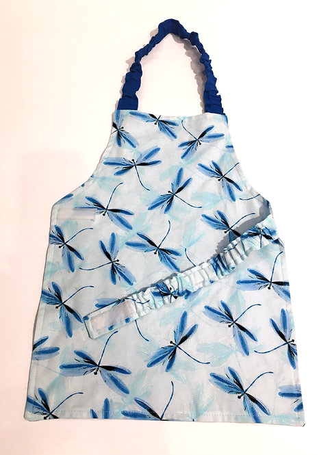 Front view of blue and white dragonfly print child's apron