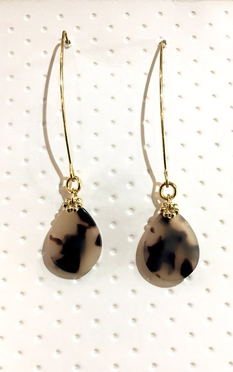 Pair of long teardrop-shaped tortoise shell earrings with gold ear wires