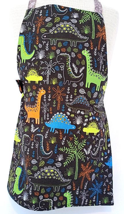 Child's cotton apron - black with colorful dinaosaurs print