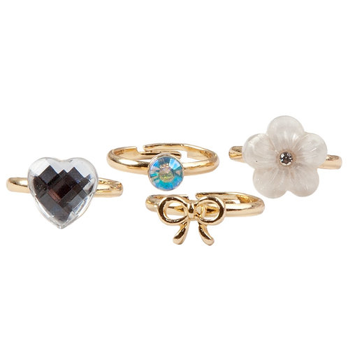 Set of 4 child's dress-up rings: heart, crystal, flower & bow shapes