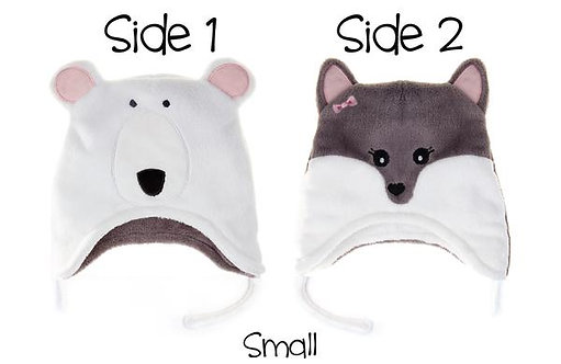 Flapjack Kids Reversible Hat - Polar Bear / Arctic Fox sides 1 and 2