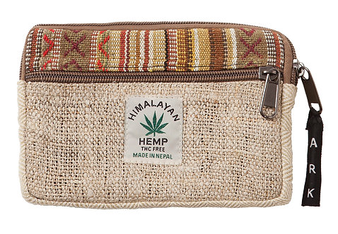 Fair Trade small flat zippered pouch-zippered front pocket natural colour-top trimmed with vertical brown-rust-beige stripes