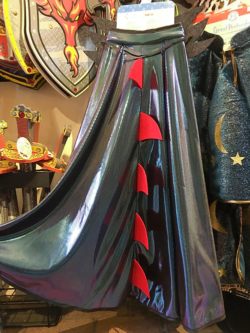 Gray-green Ultimate Dragon Cape with red spines on display at Tickled Pink