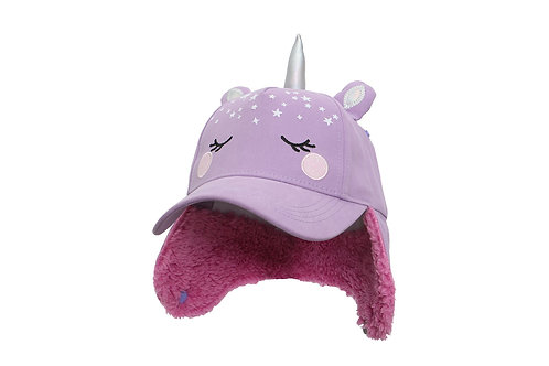 Mauve Unicorn 3D Winter Cap with sherpa-lined earflaps turned down