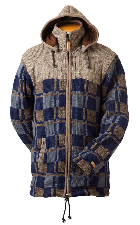 Front view of heavy knit wool cardigan-blue&brown check-zipper front-drawstring hood-2 pockets-black upper chest&shoulders