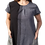 Model wearing tunic dress short sleeves round neck A-line 2 pockets 3 panels of graduated shades of soft black
