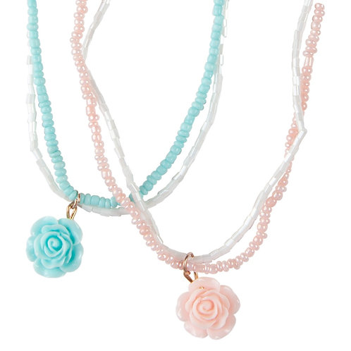 Aqua & pink rose pendants on double string of seed beads join into 1 child's dress-up necklace