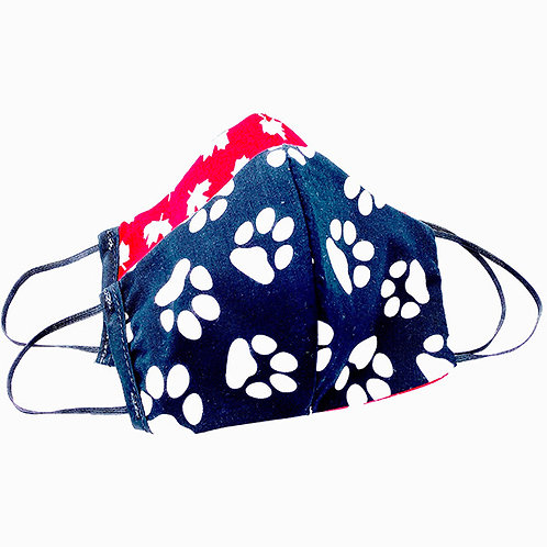 Hides in Hand Reversible & Reusable Protective Mask - Paw Prints