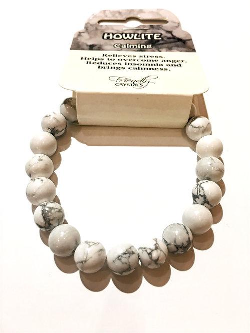 Close up of howlite stone bead stretch bracelet