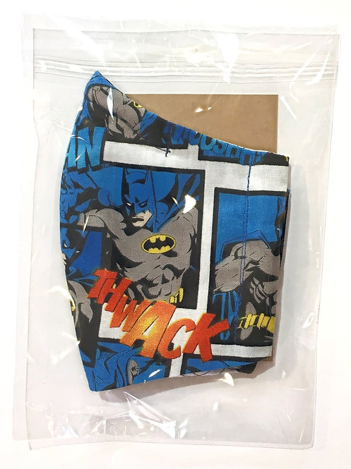 cotton protective mask for kids Batman print in plastic sleeve