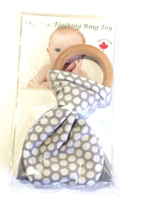 Wooden Teething Ring with gray & white polka dots print fabric tied on in shape of Bunny Ears