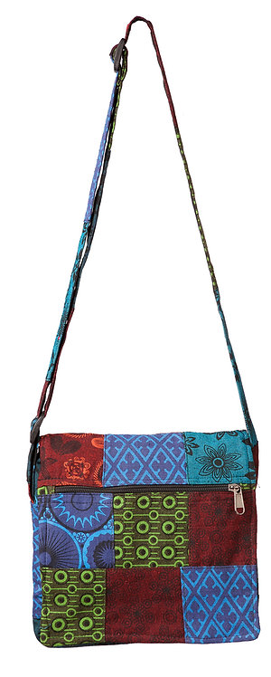Full view of Ark Fair Trade Petite Patch Shoulder Purse-outer zip pocket-long adjustable strap-multi-coloured printed patches
