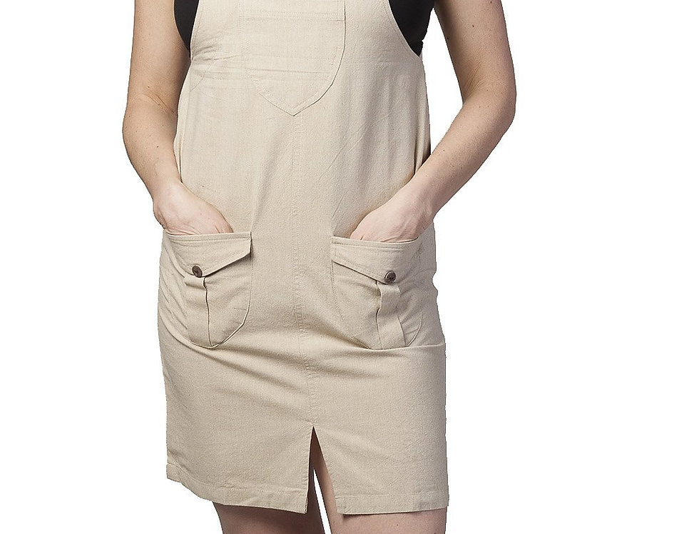Ark Fair Trade Eclipse Mini Dress in natural colour, overall style straps and 2 front pockets