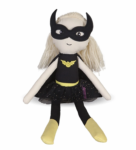 Great Pretenders Betty the Batgirl Doll in black bat suit and mask, with yellow hair