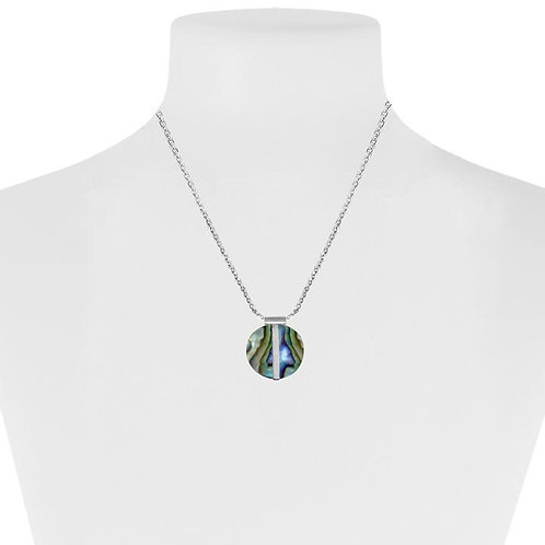 Round abalone pendant on fine chain - with silver stripe