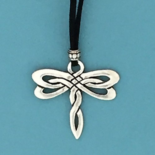 Celtic Dragonfly Suede Pendant