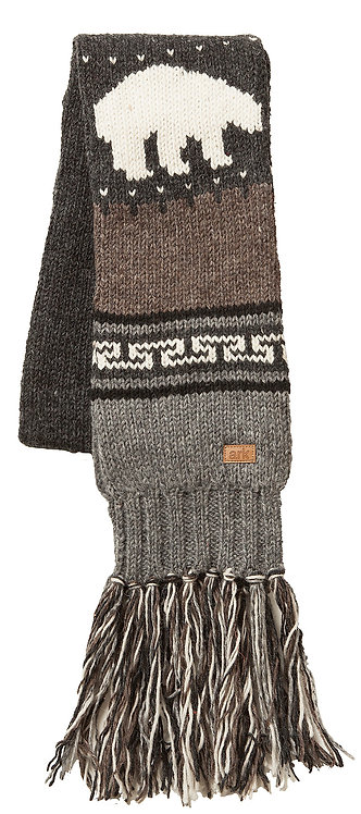 Knit wool scarf-brown & gray with geometric pattern in dark gray and white, white polar bear
