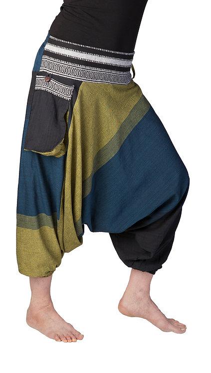 Ark Fair Trade Namo Alibaba Pants-mid-calf-length-large side pockets-teal olive & black