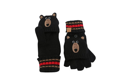 Black knit fingerless gloves with mitten flap over fingers & bear face with earson backs