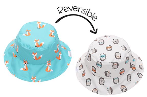 2 in 1 Reversible Patterned Sun Hat - Fox / Hedgehog