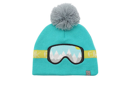 Aqua knitted toque with gray pompom & lime stripe & ski-goggles stitched on front reflecting alpine view
