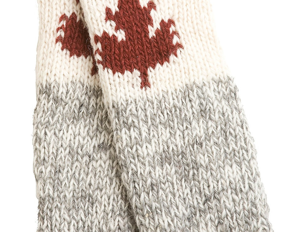 Knit wool Maple Cabin Leg Warmers gray with red band at knee &ankle - white area below knee with red maple leaf