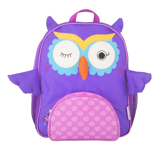 front view of purple kids' backpack with blue & white owl face on the front
