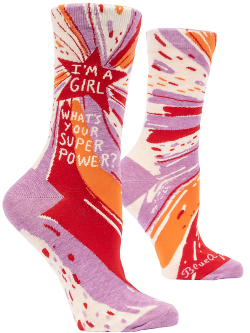 Blue Q I'm A Girl Superpower Crew Socks side view