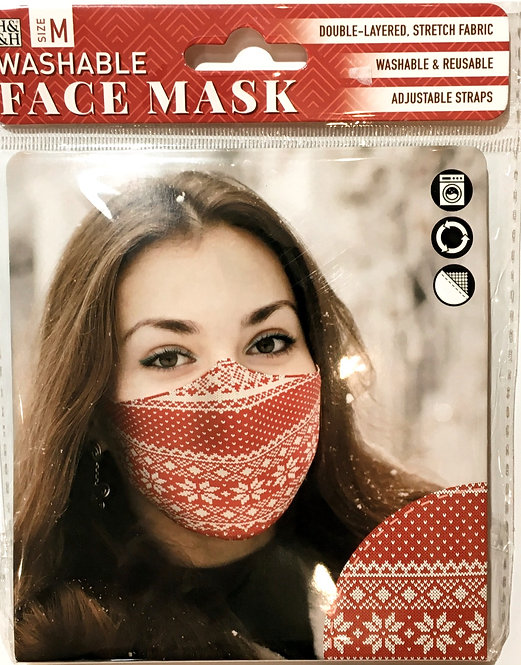 Packaging showing model wearing red mask with white snowflake pattern