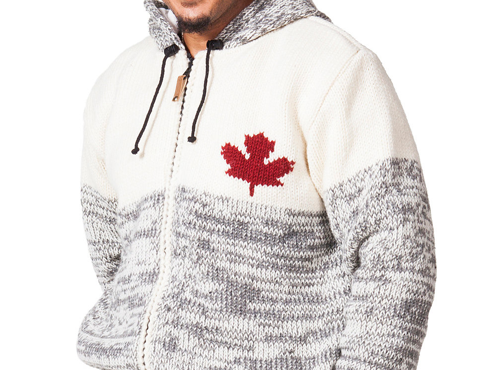 front-heavy knit wool cardigan-light gray-drawstring hood-front zipper-2 pockets-red maple leaf on left chest-red stripe cuff