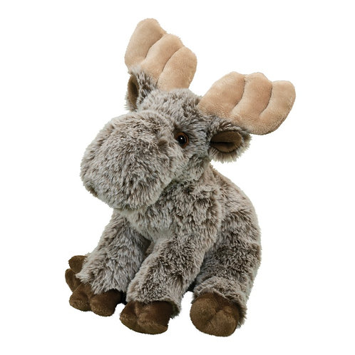 Gray & brown baby moose stuffed toy with tan antlers